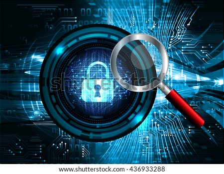 Safety concept: Closed Padlock on digital background, blue abstract light hi speed internet technology. Cyber security concept