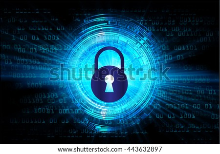 Safety concept, Closed Padlock on digital background, cyber security, Blue abstract hi speed internet technology background illustration, cyber. key