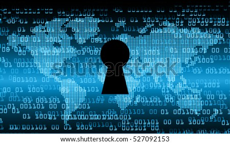 Safety concept, Closed Padlock on digital background, cyber security, Blue abstract hi speed internet technology background illustration. key. vector world
