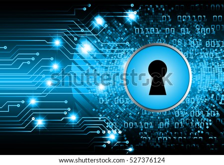 Safety concept, Closed Padlock on digital background, cyber security, Blue abstract hi speed internet technology background illustration. key. vector