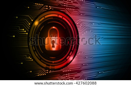 Safety concept: Closed Padlock on digital background,  orange red blue abstract light hi speed internet technology. Cyber security concept. Cyber background. Cyber data digital Technology. - stock vector