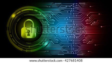 Safety concept: Closed Padlock on digital background, yellow red blue abstract light hi speed internet technology. Cyber security concept. Cyber background. Cyber data digital Technology. - stock vector