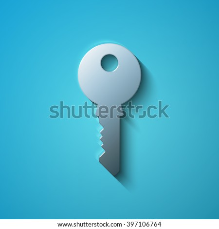 Safety concept: flat metallic Key icon, vector - stock vector