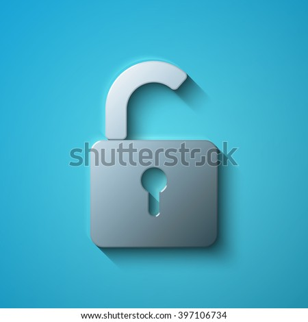 Safety concept: flat metallic Opened Padlock icon, vector - stock vector