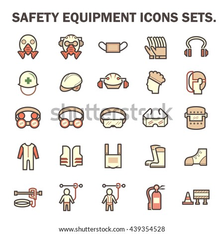 Safety equipment and tool vector icon sets design. - stock vector