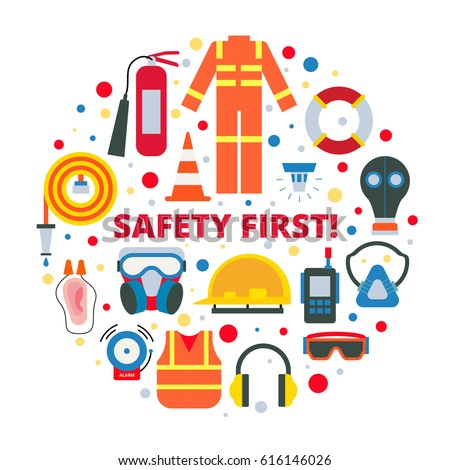 Safety First Equipment Supplies Vector Illustration Stock ...