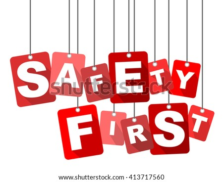 safety first, red vector safety first, red tag safety first, flat vector safety first, sign safety first, design safety first, element safety first, illustration safety first, background safety first - stock vector