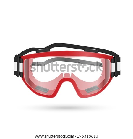 Safety goggles with closed vent isolated on white. Vector illustration - stock vector