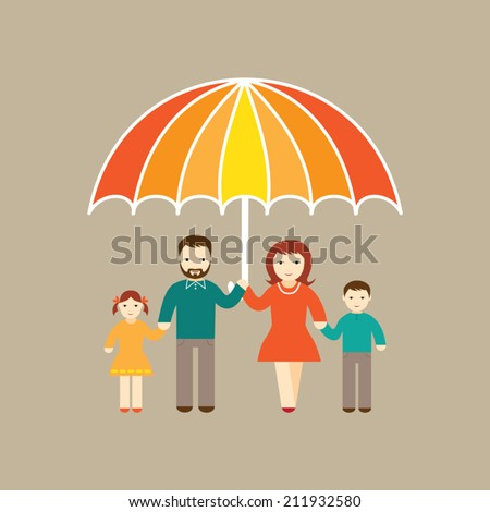 Safety - happy family illustration - stock vector