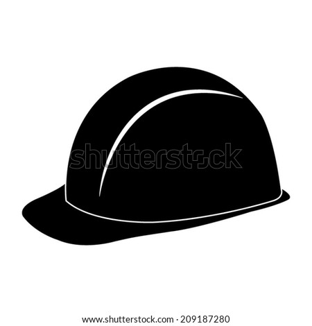 safety hard hat - black vector icon - stock vector