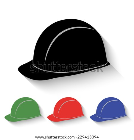safety hard hat icon - black and colored (green, red, blue) illustration with shadow - stock vector