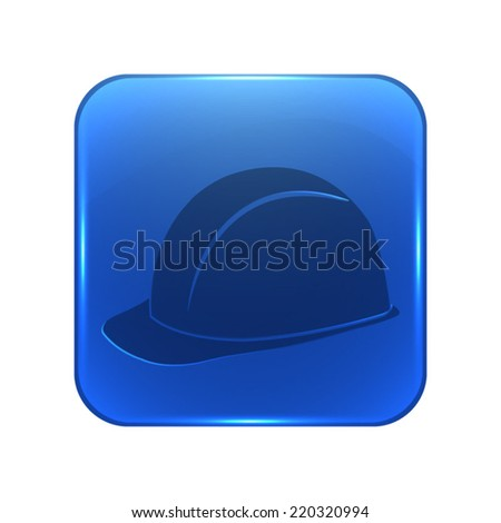 safety hard hat icon - glossy blue button - stock vector