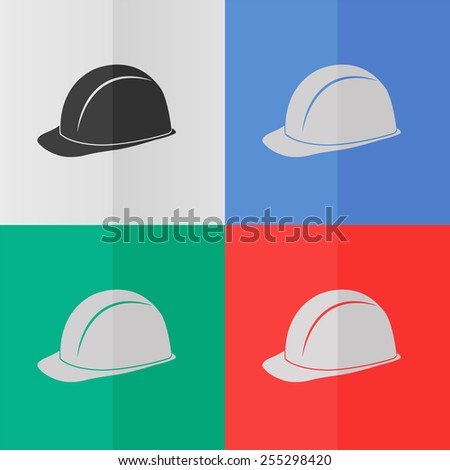 Safety hard hat vector icon. Effect of folded paper. Colored (red, blue, green) illustrations. Flat design - stock vector