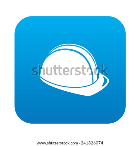 Safety hat icon on blue button background,clean vector - stock vector