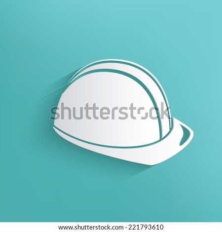 Safety hat symbol on blue background,clean vector - stock vector