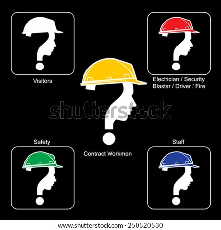 Safety Helmet Colors - Construction Site , vector - stock vector