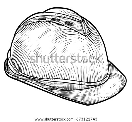 Safety helmet illustration, drawing, engraving, ink, line art, vector