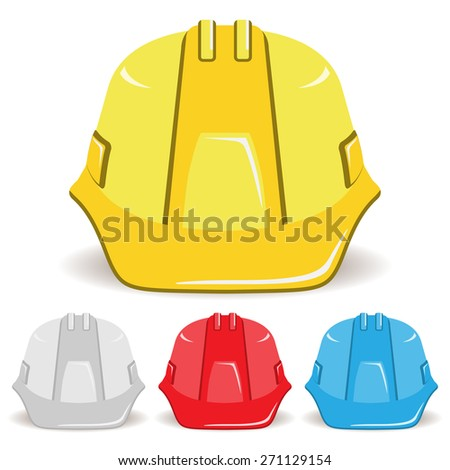 Safety helmet isolated on white background. Set. Vector illustration.