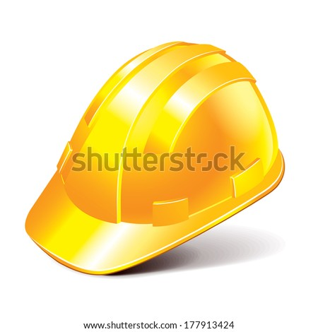 Safety helmet isolated on white photo-realistic vector illustration