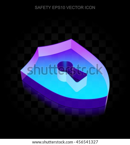 Safety icon: 3d neon glowing Shield With Keyhole made of glass with transparent shadow on black background, EPS 10 vector illustration.