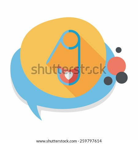 Safety pin flat icon with long shadow,eps 10 - stock vector