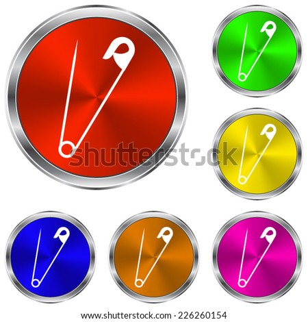 safety pin icon - vector glossy colourful buttons - stock vector