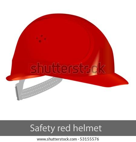 Safety red helmet. Vector illustration - stock vector