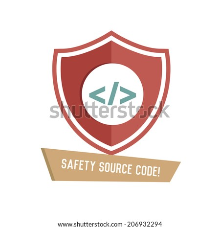 Safety source code symbol on white background,Retro colour concept,clean vector  - stock vector