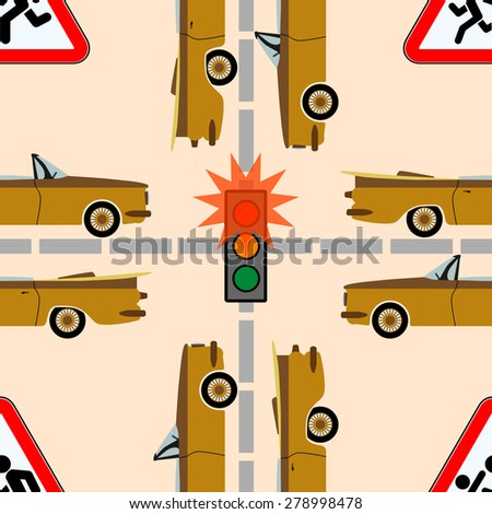 Safety traffic on the road Traffic lights and signs on the road on which move a lot of cars, seamless texture  - stock vector