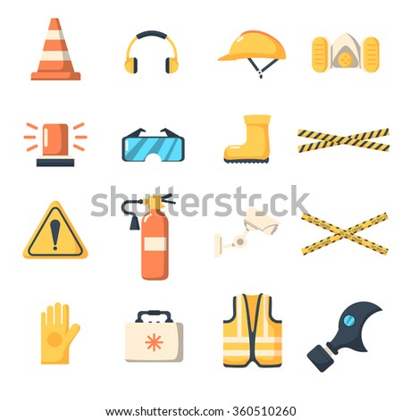 Safety work icons flat style. Safety icons vector illustration. Safety icons isolated on white background. Safety work icons. Safety symbols elements collection. Safety at work vector icons collection - stock vector