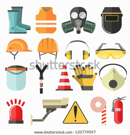 Safety work icons. Safety at work Safety vector icons collection. Safety Vector flat illustration.
