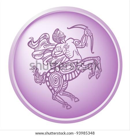 sagittarius, button with sign of the zodiac - stock vector
