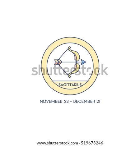 Sagittarius Horoscope Cute Illustration Zodiac Signs Stock Photo