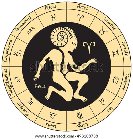 sagittarius on the background of the circle with the signs of the zodiac