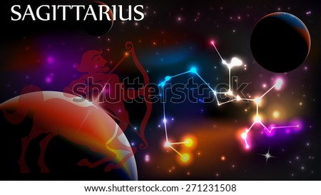 Sagittarius - Space Scene with Astrological Sign and copy space - stock vector