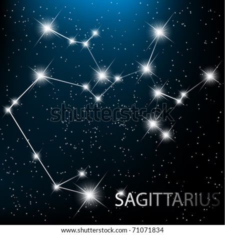 Sagittarius vector Zodiac sign bright stars in cosmos. - stock vector