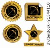 Sagittarius Zodiac Set : Gold satin buttons with name and date. - stock vector