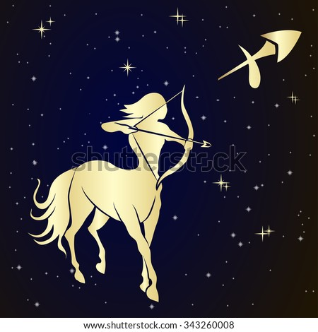 Sagittarius zodiac sign is the starry sky, vector Illustration.  Contour icon. - stock vector