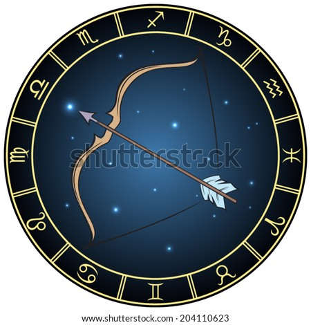 Sagittarius zodiac sign. Vector Illustration