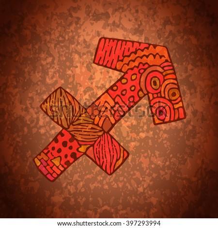 Sagittarius zodiac sign. Zodiac zentangle sign. Zodiac symbol. Zentangle doodle zodiac. Zentangle style vector. Zodiac symbol. Sagittarius horoscope. Sagittarius zodiac grunge banner. - stock vector