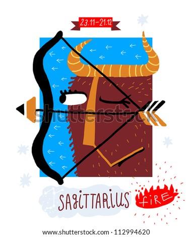 Sagittarius. zodiac vector drawing - stock vector