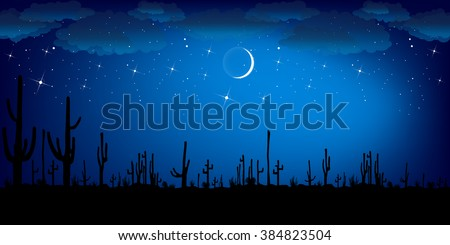 Saguaro Cactus at night. Colorful Vector Landscape.