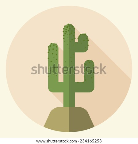 Saguaro icon with long shadow. Flat design