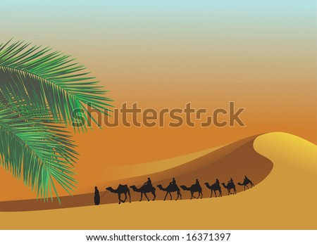 Sahara Desert with camels - stock vector