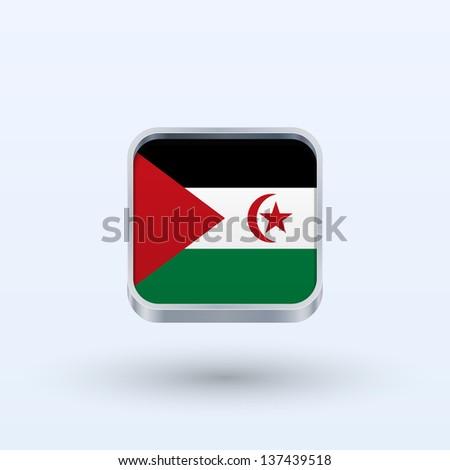 Sahrawi Arab Democratic Republic flag icon square form on gray background. Vector illustration. - stock vector