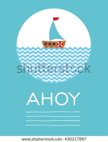 sail boat card. Vector Illustration