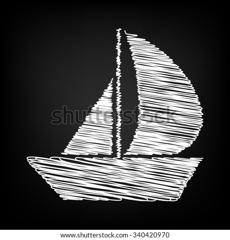 Sail Boat icon with chalk effect  - stock vector