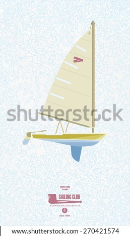 Sail boat on a blue background - stock vector