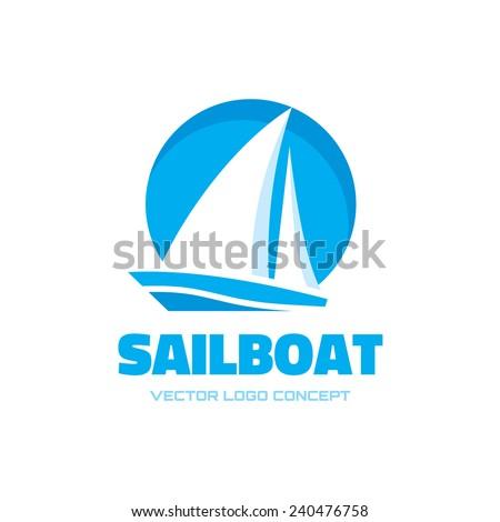 Sail boat - vector logo template concept illustration. Ship sign. Design element.  - stock vector