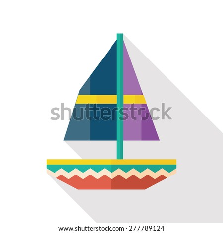 sail flat icon with long shadow - stock vector